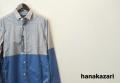 【プレミアムタイムセール!】 hanakazari(ハナカザリ) 切替デザイン長袖シャツ (グレーxブルー) 38(M)/40(L)