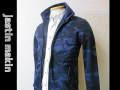 『特別価格』 jastin makin(ジャスティンメイキン) カモフラボリュームネックジャケット/ジャージー(ブルー) S/M/L/XL