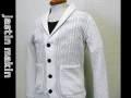 『特別価格』 jastin makin(ジャスティンメイキン) ショールカラーケーブル編みカーディガン(ホワイト)S/M/L/XL