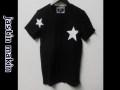 jastin makin (ジャスティンメイキン) x RLISP スターxカモフラスカル刺繍カットオフデザインクルーネック半袖Tシャツ(ブラック) S/M/L
