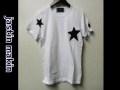 jastin makin (ジャスティンメイキン) x RLISP スターxカモフラスカル刺繍カットオフデザインクルーネック半袖Tシャツ(ホワイト) S/M/L