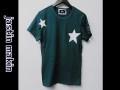 jastin makin (ジャスティンメイキン) x RLISP スターxカモフラスカル刺繍カットオフデザインクルーネック半袖Tシャツ(グリーン) S/M/L