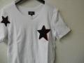 jastin makin (ジャスティンメイキン) x RLISP Wスターxカモフラスカル刺繍カットオフデザインUネック半袖Tシャツ(ホワイト) S/M/L