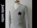 『特別価格』  jastin makin x RLISP スター針抜きVネック長袖Tシャツ/ロンT(グレーxブラック/xレッド) 2タイプ M/L