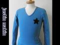 『特別価格』  jastin makin x RLISP スター針抜きVネック長袖Tシャツ/ロンT(ターコイズxブラック/xレッド) 2タイプ M/L