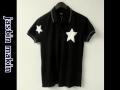 『特別価格』 jastin makin x RLISP (ジャスティンメイキン) スターデザイン半袖鹿の子ポロシャツ(ブラック)M/L