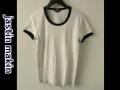 『ラストクリアランス!大処分価格!』 jastin makin  x RLISP(ジャスティンメイキン) 裏チェックシルケットトリム半袖Tシャツ(白X赤) M/L