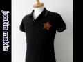 『特別価格』 jastin makin x RLISP (ジャスティンメイキン) ヴィンテージレザースター半袖鹿の子ポロシャツ(ブラック) M/L 限定品