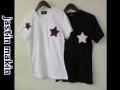 【プレミアムサマーセール!】 jastin makin (ジャスティンメイキン) Wスターカットオフデザインクルーネック半袖Tシャツ 2 colar(ホワイト/ブラック) M/L