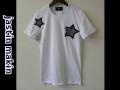 『特別価格』 jastin makin (ジャスティンメイキン) x RLISP スターカットオフデザインクルーネック半袖Tシャツ(ホワイト)  M/L