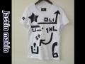 jastin makin (ジャスティンメイキン) アートライン アートデザイン半袖Tシャツ (ホワイト) M/L 限定品