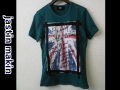 jastin makin x RLISP (ジャスティンメイキン) レイヤードカットオフユニオンジャック半袖Tシャツ (グリーン) M/L 限定品