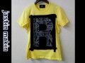 jastin makin x RLISP (ジャスティンメイキン) レイヤードカットオフロゴデザイン半袖Tシャツ (イエロー) M/L 限定品
