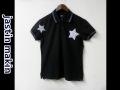 『特別価格』 jastin makin x RLISP (ジャスティンメイキン) ドットスターデザイン半袖鹿の子ポロシャツ(ブラック)M/L