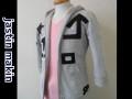jastin makin (ジャスティンメイキン) アートライン 7分袖ダブルジップパーカ (グレー)  M/L 限定品