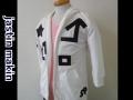 jastin makin (ジャスティンメイキン) アートライン 7分袖ダブルジップパーカ (ホワイト)  M/L 限定品