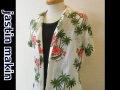 jastin makin(ジャスティンメイキン) x RLISP ボタニカル柄 アロハ半袖カットシャツ(ホワイト)M/L