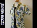 jastin makin(ジャスティンメイキン) x RLISP ボタニカル柄 アロハ半袖カットシャツ(ホワイトxブルー)M/L