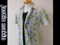 jastin makin(ジャスティンメイキン) x RLISP ボタニカル柄 アロハ半袖カットシャツ(サックスxブルー)M/L