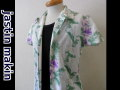 jastin makin(ジャスティンメイキン) x RLISP ボタニカル柄 アロハ半袖カットシャツ(ホワイトxパープル)M/L