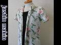 jastin makin(ジャスティンメイキン) x RLISP ボタニカル柄 アロハ半袖カットシャツ(ホワイトxレッド)M/L/XL