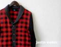 jastinmakin x RLISP (ジャスティンメイキン) ショールチェックカーディガン(レッドxブラック) M/L