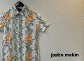 【プレミアムサマーセール!】 jastin makin(ジャスティンメイキン) x RLISP スリムフィットストレッチボタニカル柄 アロハ半袖カットシャツ(ホワイトxオレンジ) M/L/XL