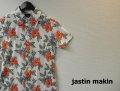 jastin makin(ジャスティンメイキン) x RLISP スリムフィットストレッチボタニカル柄 アロハ半袖カットシャツ(ホワイトxレッド) M/L/XL