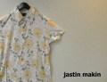 jastin makin(ジャスティンメイキン) x RLISP スリムフィットストレッチボタニカル柄 アロハ半袖カットシャツ(ホワイトxベージュ) M/L/XL