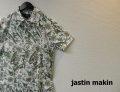 jastin makin(ジャスティンメイキン) x RLISP スリムフィットストレッチボタニカル柄 アロハ半袖カットシャツ(ホワイトxグリーン) M/L/XL