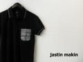 『ラストクリアランス!大処分価格!』 jastin makin x RLISP (ジャスティンメイキン) チェックポケットデザイン半袖鹿の子ポロシャツ(ブラック)M/L