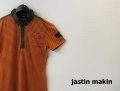 『ラストクリアランス!大処分価格!』 jastin makin x RLISP (ジャスティンメイキン) スリムフィットピンボーダークレリックポロシャツ(オレンジ)M/L