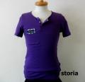 lino storia(リノ ストーリア) x jastin makin 針抜き エンブレムロゴヘンリーネック半袖Tシャツ (パープル)  M/L