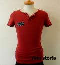 lino storia(リノ ストーリア) x jastin makin 針抜き エンブレムロゴヘンリーネック半袖Tシャツ (ワイン)  M/L