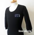 『ラストクリアランス!大処分価格!』 lino storia(リノ ストーリア) サーマルUネック7分袖Tシャツ  2type (ブラック) M/L