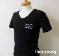 『ラストクリアランス!大処分価格!』 lino storia(リノ ストーリア) 針抜きテレコエンブレムロゴVネック半袖Tシャツ (ブラック)  M/L/XL