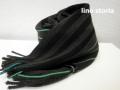 『WINTER CLEARANCE SALE!』 lino storia(リノストーリア) ストライプデザインマフラー(ブラックxグリーンライン) ユニセックス/イタリア製