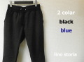『特別価格』 lino storia(リノ ストーリア) スリムフィットイージーパンツ 2 colar (ブラック/ブルー) M/L
