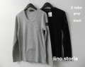 lino storia(リノ ストーリア) レザーエンブレム サーマルUネック長袖Tシャツ 2 colar (グレー/ブラック) M/L/XL