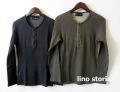 『特別価格』 lino storia(リノ ストーリア) 針抜きヘンリーネック長袖Tシャツ /ロンT  2 colar (ブラック/カーキ) M/L