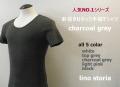 『ラストクリアランス!大処分価格!』 lino storia(リノ ストーリア) 針抜きUネック半袖Tシャツ (チャコールグレー) M/L/XL  『all 5 colar』
