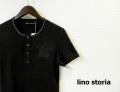 lino storia(リノ ストーリア) ネイビーカモフラスター サーマルヘンリーネック半袖Tシャツ (ブラック) M/L 『限定品』