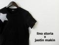 lino storia(リノストーリア) x jastin makin (ジャスティンメイキン) ドットスターカットオフデザインクルーネック半袖Tシャツ(ブラック)  S/M/L