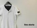 『ラストクリアランス!大処分価格!』 lino storia(リノ ストーリア)  レザーエンブレムスリムフィット針抜きヘンリーネック半袖Tシャツ (ホワイト)  M/L
