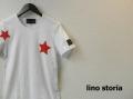 『ラストクリアランス!大処分価格!』 lino storia (リノ ストーリア) スターカットオフデザインクルーネック半袖Tシャツ (ホワイト)  M/L