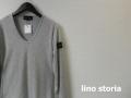 lino storia(リノ ストーリア)  レザーエンブレムソフトテレコVネック長袖Tシャツ(グレー) M/L