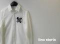 【リノストーリア プレミアムタイムセール!】lino storia(リノストーリア) Xデザインストレッチシャツ/長袖シャツ (オフホワイト) M/L