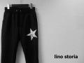 lino storia(リノストーリア) かすれスターデザインスリムフィットジャージーパンツ (ブラック) M/L