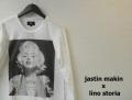 【プレミアムタイムセール!】 lino storia x jastin makin マリリンモンローフォト長袖Tシャツ/プリントロンT (ホワイト) S/M/L/XL