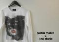 【大幅プライスダウン!プレミアムタイムセール!】 lino storia x jastin makin 仮面女性フォト長袖Tシャツ/プリントロンT (ホワイト) S/M/L/XL